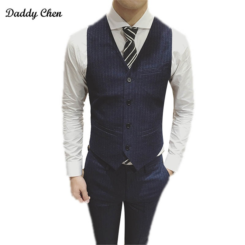 Mens Suit Vest Men Colete Male British Wedding Slim Fit Men sleeveless Black Dress Blazer Vests Casual Waistcoat Party Gilet