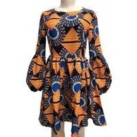 Fashion three quarter puff sleeve dashiki dress o neck Ankara print ball gown African dress street wear