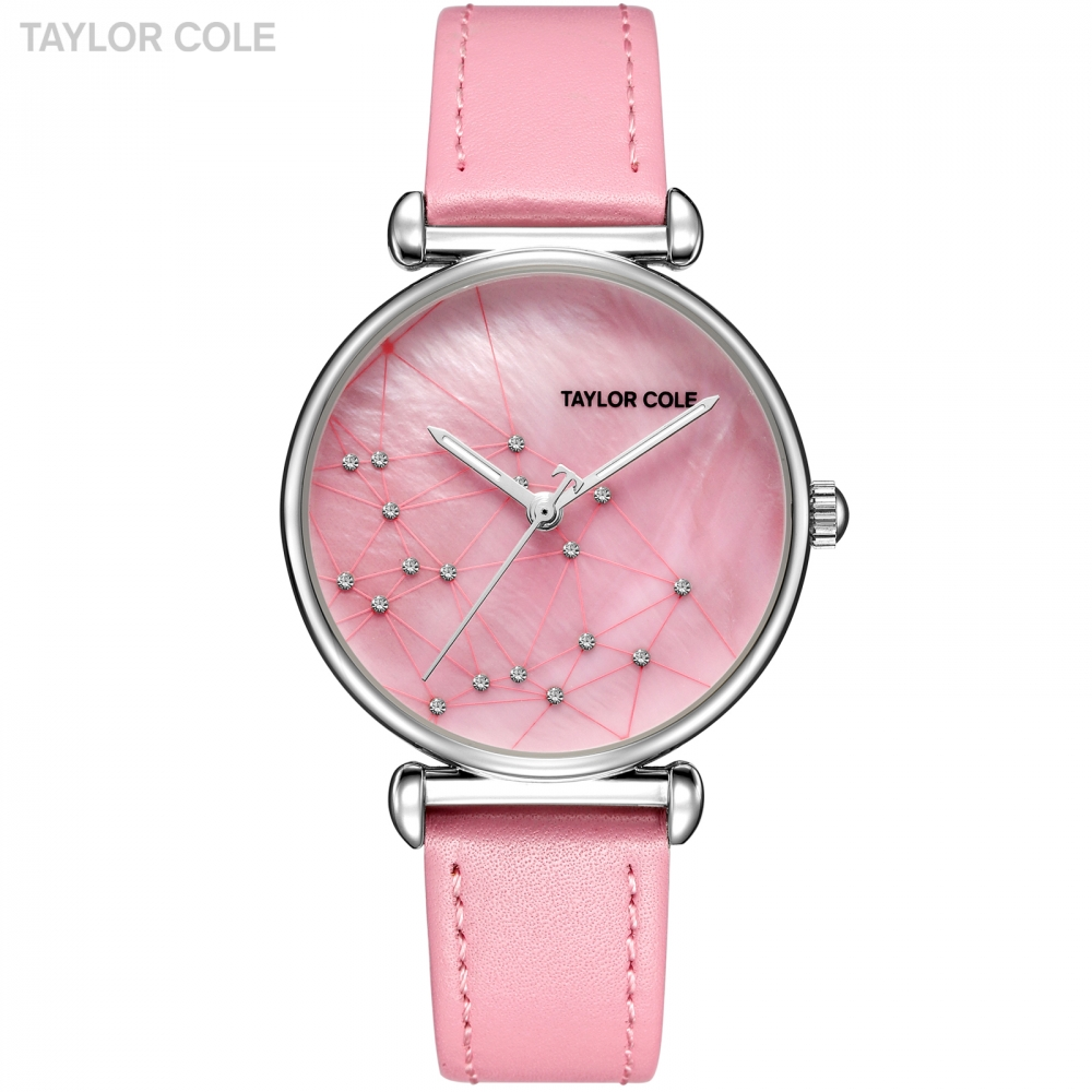 New Taylor Cole Women Watches Casual Ladies Clock Pink Leather Strap Feminino Reloj Mujer Montre Femme Japan Quartz Watch /TC144 vansvar follow your dreams women quartz watches reloj mujer relogio feminino leather strap wristwatch new dress watch clock