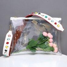 Новый ПВХ прозрачный Для женщин Сумки модные Цвет заклепки ремень Для женщин Курьерские сумки ясный день клатч конверт кошелек дизайнер Сумки