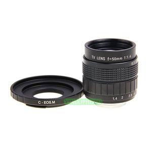 Image 1 - Fujian 50mm F1.4 CCTV lente de TV + C EOS M para Canon cámara sin espejo EOS M M2 M3
