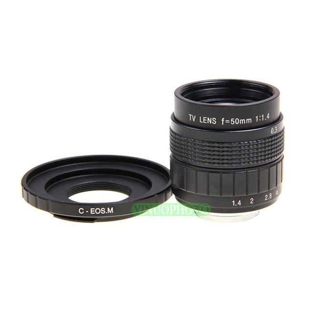 Fujian 50mm F1.4 CCTV lente de TV + C EOS M para Canon cámara sin espejo EOS M M2 M3