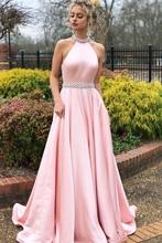 2019 Ensotek New Beaded Crystal Halter Backless Satin Pink Evening Gowns vestidos de festa Long Graduation Prom Party Dresses