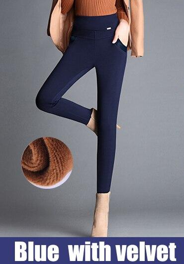 Plus size 5XL 6XL Women pencil pants capri high elastic waist fleece stretch spliced office formal causal pants female trousers