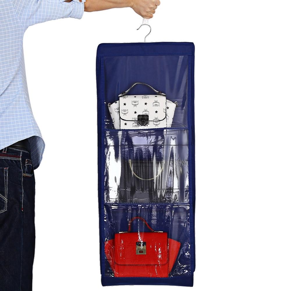 6 Pockets Clear Organizador Hanging Closet Handbag Holder Storage Bag Closet  Organizer Wardrobe Rack Hangers In Storage Bags From Home U0026 Garden On ...