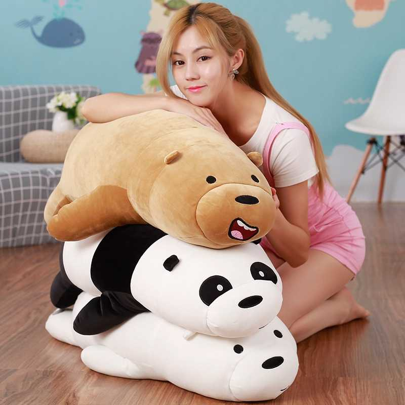 50-90cm Cartoon We Bare bears Lying Bear Stuffed Grizzly Gray White Bear Panda Plush Toys for Children Kawaii Doll Gift