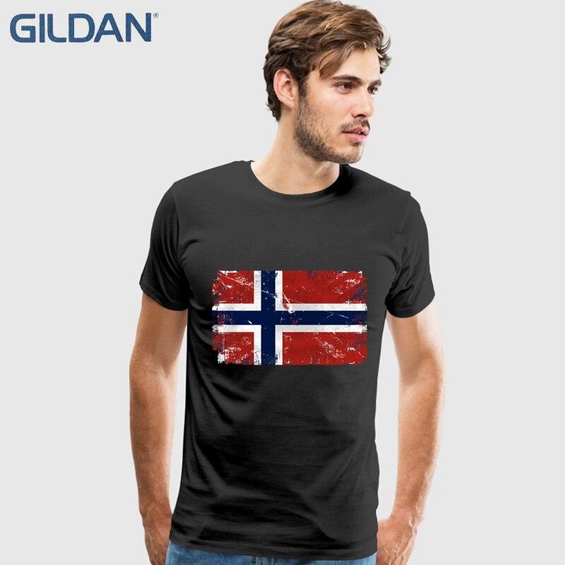 Norway Flag Vintage Tees Shirt Men Boy Designer White Short Sleeve Custom Big Size Group T-Shirts