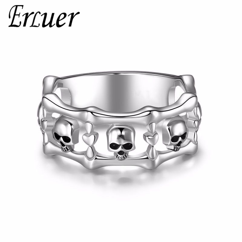 ERLUER Vintage Gothic skull Style hollow out Silver color Rings For Women Engagement jewelry Trendy Birthday love Gift ring