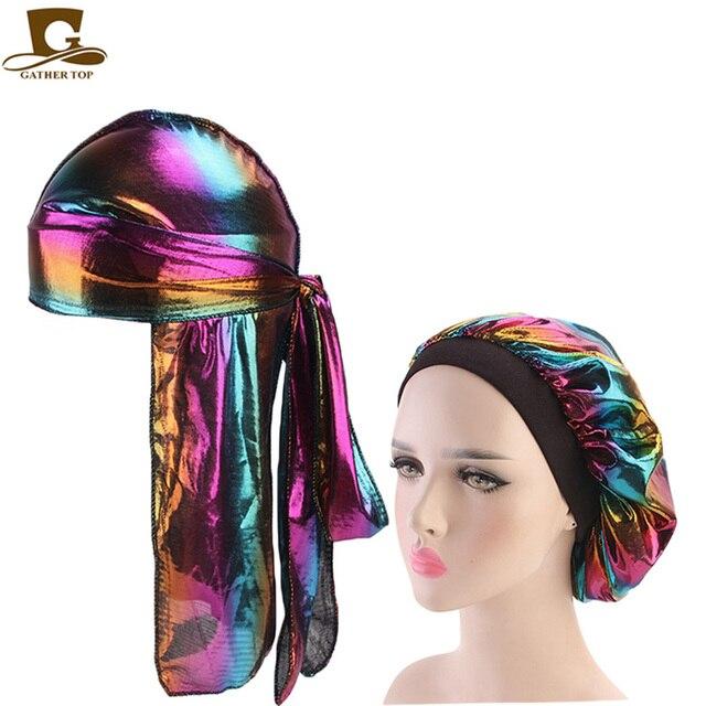 Fashion Men's Durag Headwear Durags and Bonnets Women  Comfortable Cap Couple 2pcs sets 10