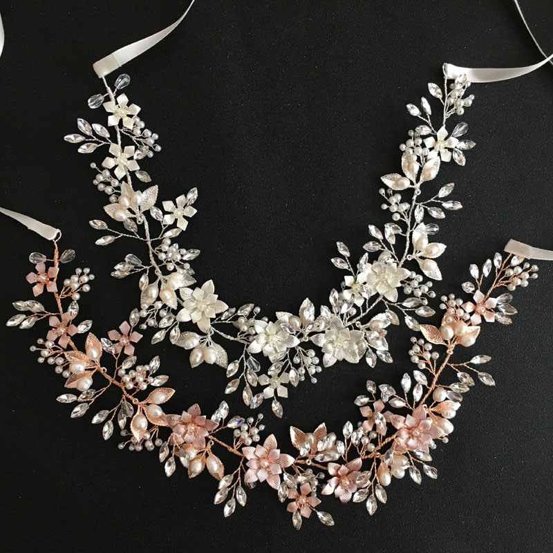 SLBRIDAL Wired Crystal Rhinestones Freshwater Pearls Wedding Hair accessories Hairband Bridal Headband Bridesmaids Jewelry Women недорого