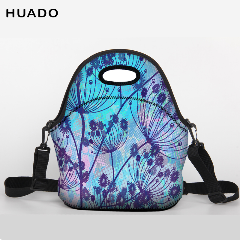 Flower pattern Lunch Bag Neoprene Large Lunch Tote bag With shoulder belt for Women Kids Baby Girls
