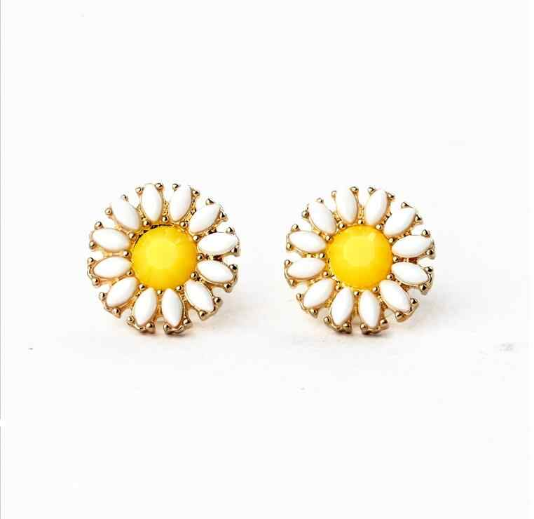 على بيع تعزيز لذيذ الحلو الأصفر عباد الشمس أقراط المرأة حجر صناعي Brincos أقراط بيجو مجوهرات هدية E5180