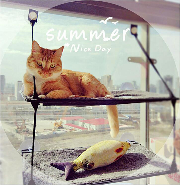 Wonderful Cat Window Hammock Sucker Bed Mounted Pot Bed Mat Cat Lounger Perch Cushion  Hanging Shelf Seat With Suction Cup For Cat Lounger