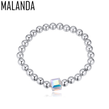 MALANDA 2017 Design No Allergic Metal Ball Chain Bracelet Crystal From Swarovski Bracelets & Bangles For Women Party Jewelry(China)
