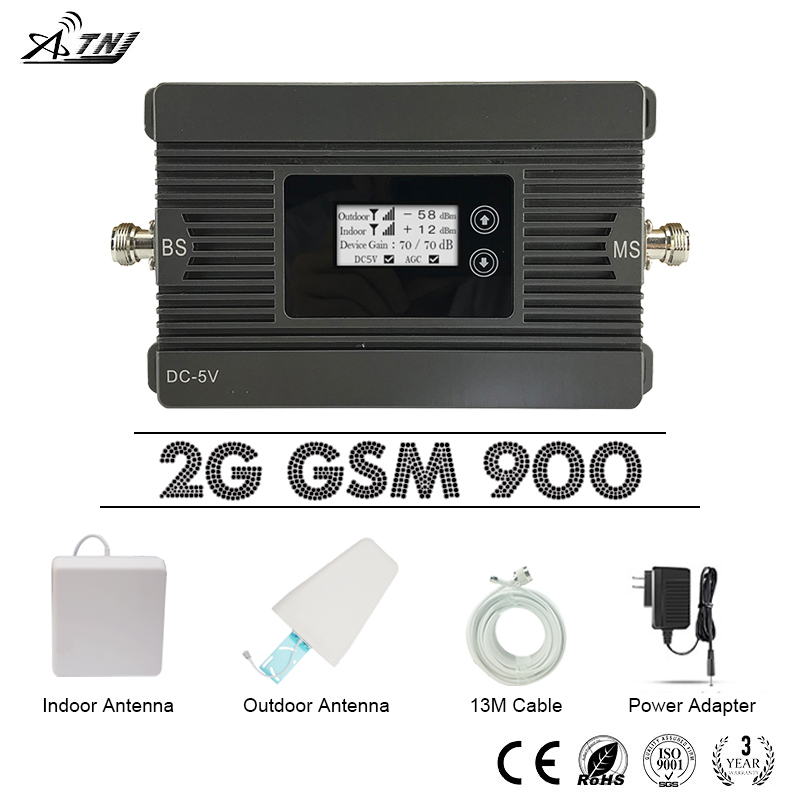 ATNJ GSM 900 MHz Repeater 80dB Gain 2G GSM 900 Mobile Signal Booster LCD Display GSM Ampilifer +LPDA Antenna With 13m Cable Set