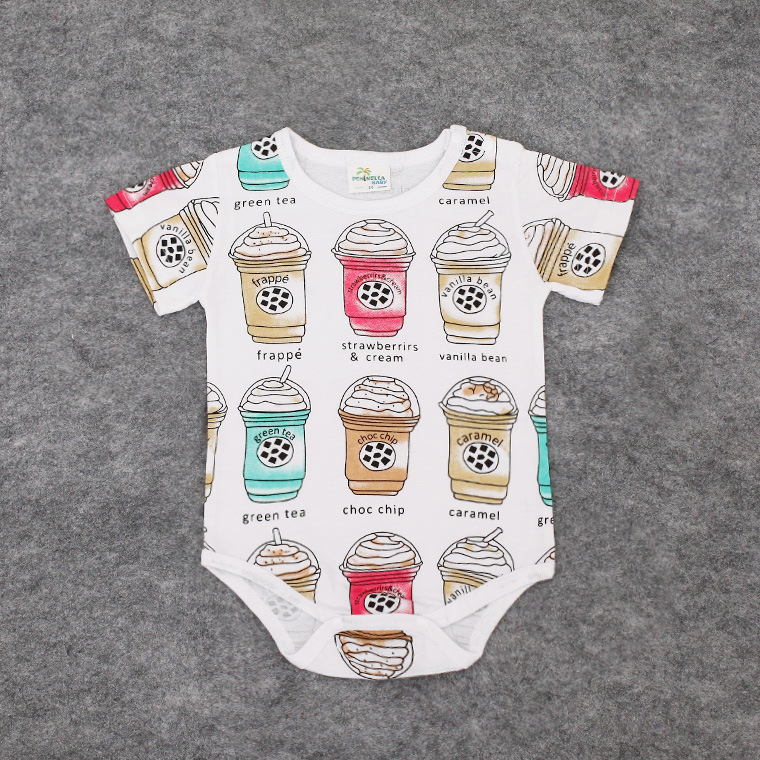 2017 New Summer baby Rompers Print Ice cream Fashion baby clothes New born baby 0-18Month Infant Kids Cotton toddler costume gift boutique endless summer ice cream recipe book