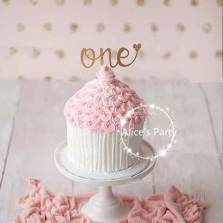 New handmade Hot one Baby Shower Cake Bunting 2 Gold Art ONE Kids 1st Birthday Smash Cake toppers Table Centerpieces photo