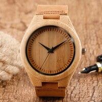 Классическая ручной работы дизайн Кварц древесины смотреть коричневый кожаный ремешок природа Бамбук Деревянные наручные часы для мужчин ...