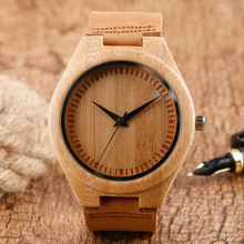 Classical Hand-made Design Quartz Wood Watch Brown Genuine Leather Band Nature Bamboo Wooden Wristwatch for Men Women Gift