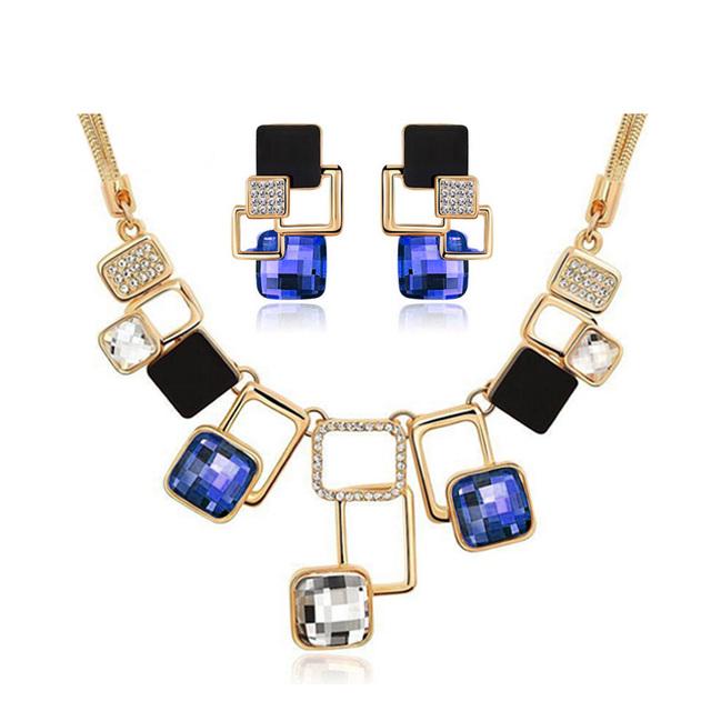 European and American fashion Golden Geometric Big Stone Jewelry Sets Austrian Crystal Fine jewellery Set for women personality