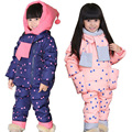 Latest Boys Girls Winter Warm Down Jacket Suit Set Thick Coat+overalls Suits Baby Clothes Set Kids Hooded Jacket With Scarf