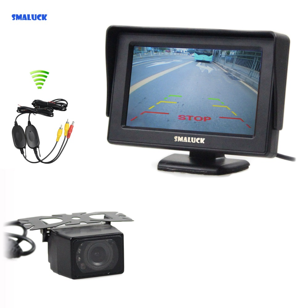 SMALUCK Wireless 4.3 Inch Color TFT LCD Car Monitor + Waterproof Rear View Car Camera Parking Assistance System