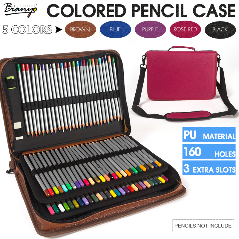 Bianyo 160 Holder 4 Layer Portable PU Leather Colored Pencil Case Gel Pen Case Large Capacity Pencil Bag For Art Supplies dainayw 127 holders large capacity school pencil case pu leather portable colored pencil holder pen bag for artist students