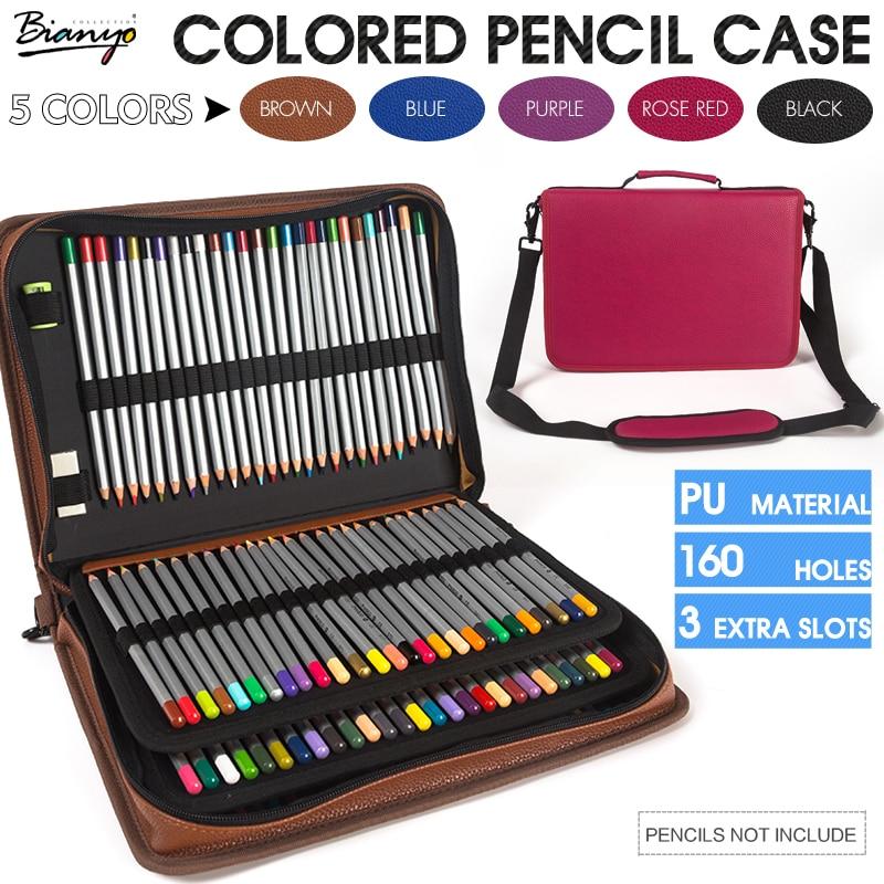 Bianyo 160 support 4 couches Portable en cuir PU couleur porte-crayon Gel stylo sac de grande capacité pour les fournitures d'art