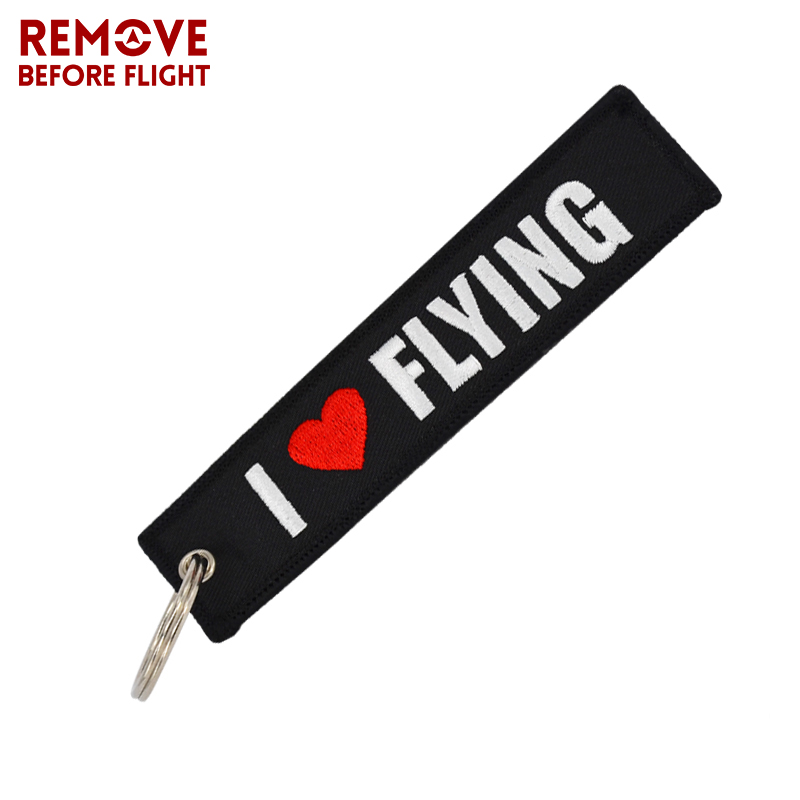 Remove Before Flight OEM Keychain Jewelry Safety Label Embroidery I LOVE FLYING Key Ring Chain for Aviation Gifts Luggage Tag