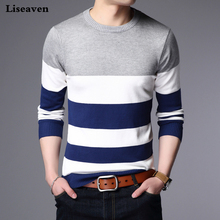 Liseaven Sweater Male Pullover Men Brand Casual Sweaters Striped Mens Cashmere Sweater Outerwear Jumper Pullovers