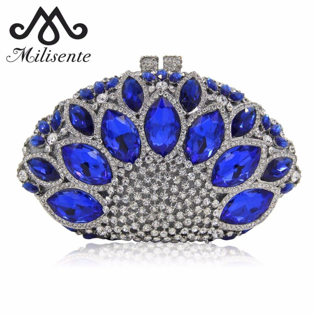 Milisente Women Clutch Luxury Crystal Bag Wedding Purse Party Clutches Purses Wholesale Silver Bags milisente вечерние сумки ёенщин сцепление дамы свадьба муфты мешок участника