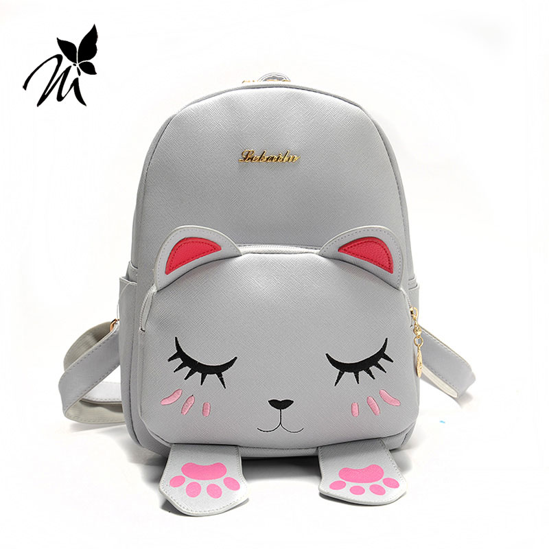Ms han edition pu backpack backpack female cute kitten institute wind new tide female bag bag, Japan and South Korea concept of vortex female student individuality creative watch han edition contracted fashion female table