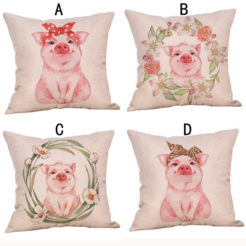 Cute Animal Pig Cartoon Pillow Cotton Linen Cushion Sofa Car Pillow Room  Decor