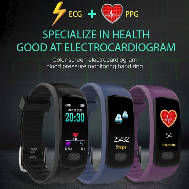 E07 Smart Bracelet Heart Rate Monitor Fitness Tracker Smart Wristband ECG/PPG Blood Pressure Smart Band Watch For IOS Android
