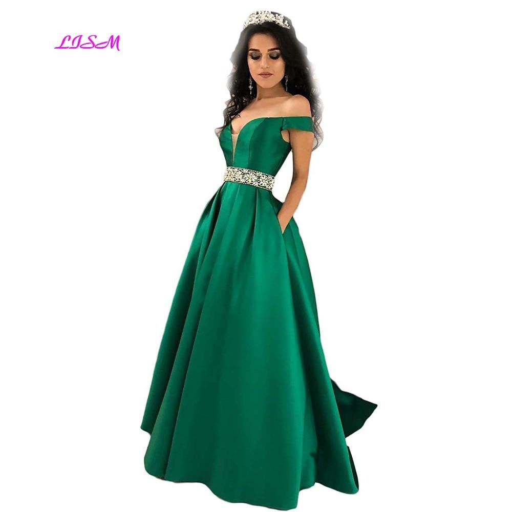 Off Shoulders   Prom     Dresses   2019 Beaded A-Line Ball Gowns for Women Long Formal Evening   Dress   with Pocket vestido de festa longo