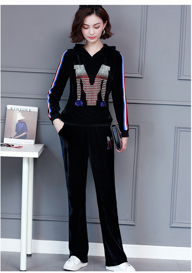 M-5xl 2019 Autumn Velvet Rhinestones Two Piece Sport Sets Tracksuits Women Plus Size Hooded Tops And Pants Casual Outfits Suits 36