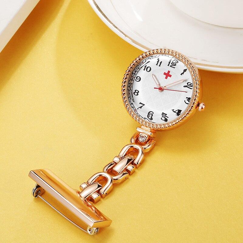 9e425c752a9 Vintage Rose Gold Brooch Hanging Nurse Watch Silver Fashion Arabic ...