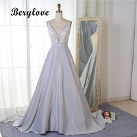 BeryLove Long Satin Lace Prom Dresses Deep V Neck Prom Gowns Cheap Beaded Evening Dresses 2018 Special Occasion Party Dresses