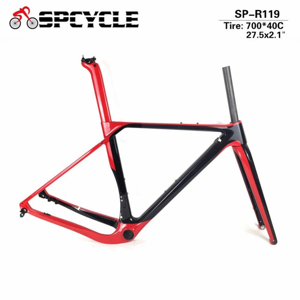 Spcycle T1000 Cascalho de Quadros de Bicicletas de Carbono Freios A Disco De Carbono Cyclocross Quadro Eixo 142/135 milímetros De Carbono MTB Bicicleta de Estrada conjunto de quadros