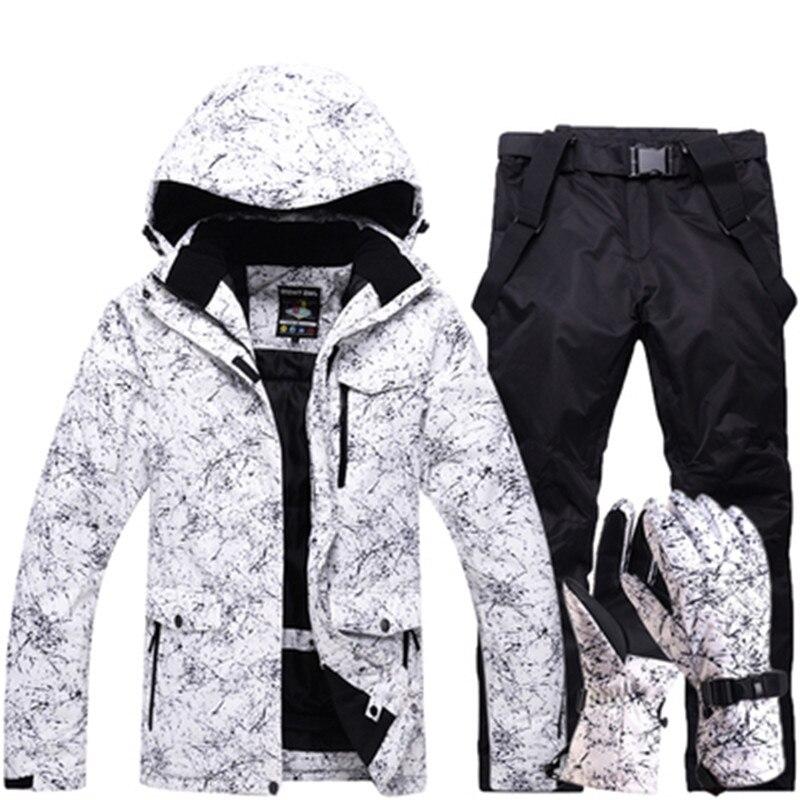 Amant Hommes Et Femmes Étanche combinaison de Ski Montagne Ski Costume Pour Hommes Épaississent Chaud Ski de Neige Veste + Snowboard pantalon Ski Ensemble