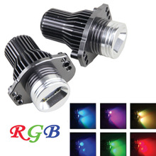 2Pcs 2*24W CANBUS 12v LED  Angel Eye Headlight RGB COLOR CHANGE Halo Ring Marker Light for BMW E90 E91 3 Series 100% NO ERROR
