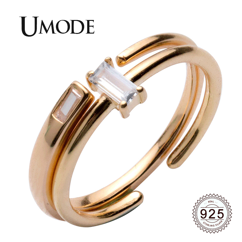 UMODE 100%925 Sterling Silver Rings For Women Zirconia Crystal Geometric Rings Open Adjustable Jewelry 2019 New Trendy ULR0739