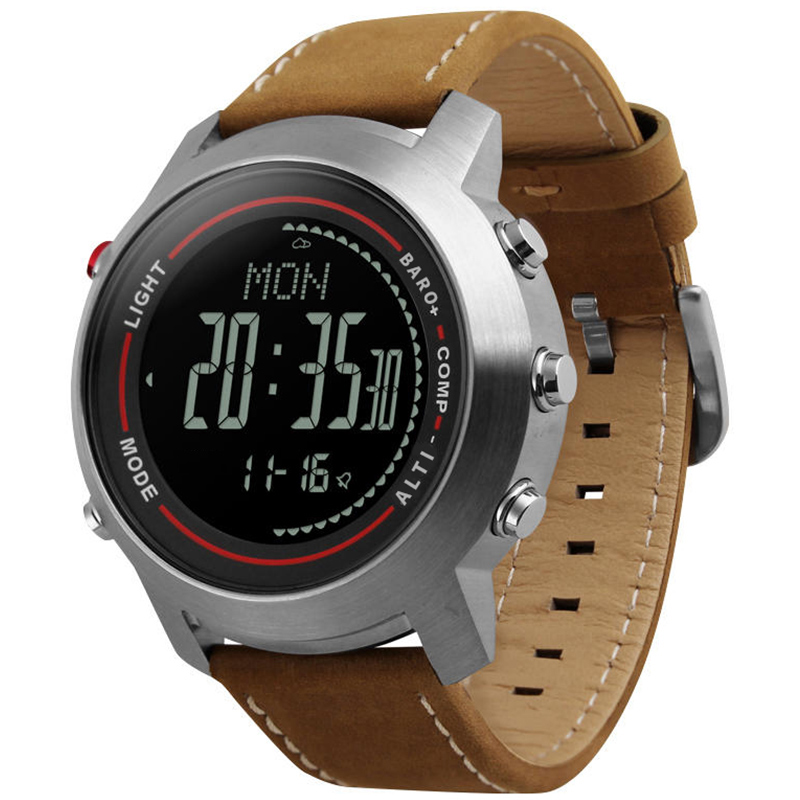 Relógio de pulso digital bússola altímetro barômetro couro banda moda ao ar livre relógios relógio relogio masculino