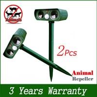 2pcs Outdoor Solar Ultrasonic Pest Animal Bird Cat Dog Repeller Repellent Garden Animal Chaser Pest