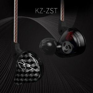 Image 4 - Original KZ ZST Bunte BA + DD In Ohr Kopfhörer Hybrid Headset HIFI Bass Noise Cancelling Earbuds Mit Mic Ersetzt BT Kabel