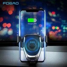 Cargador inalámbrico Qi de 10W para coche soporte de teléfono de ventilación de aire por gravedad automática, carga rápida para iPhone 11 XS XR X 8 Samsung S20 S10