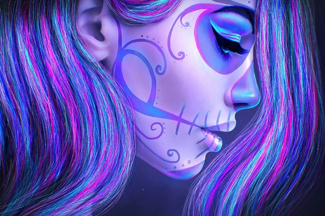 tattoo skull girl makeup hair day of dead face sugar skull art death