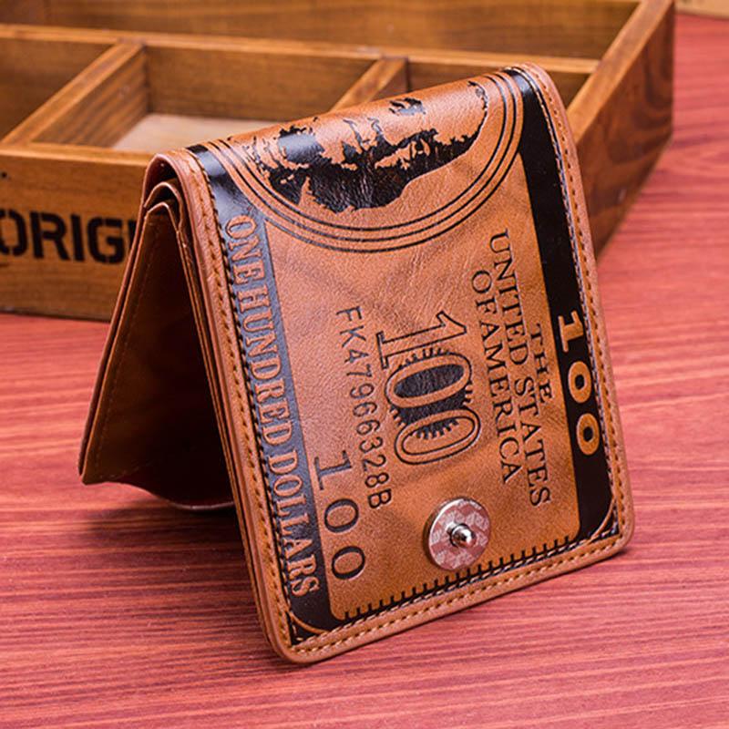 Men Vintage Wallet PU Leather Dollar Pattern Designer Men's Wallets Casual Credit Card Holder Purse Wallet For Male Money Bag (6)