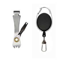 Quick Knot Tool Fly Fishing Nipper Fly Line Cutter Clippers Snips Fast Tie Nail Knotter Zinger Retractor Fishing Tackle Tool samsfx fly fishing quick knot tool knot tying tools tie fast lines clipper nipper scissors hook sharpener with zinger retractor