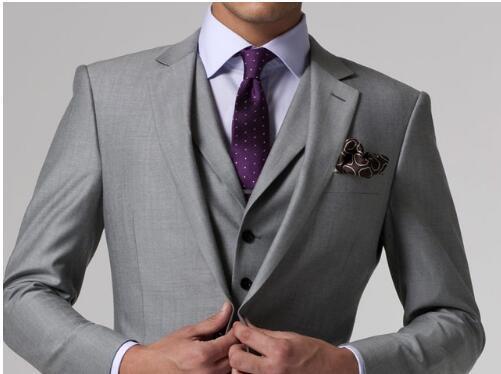 Cinza Tuxedo Custom Made Cinza Ternos Cinza de Casamento Do Noivo Terno Dos Homens Smoking Cinza, 2015 Cinza Smoking de Casamento, 3 Peça Terno Cinza